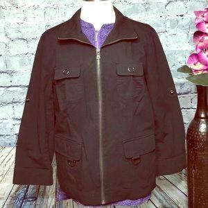 Liz Claiborne Jacket Black Zip Up Large Like New